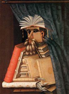 tableau de Giuseppe Arcimboldo Le bibliothécaire