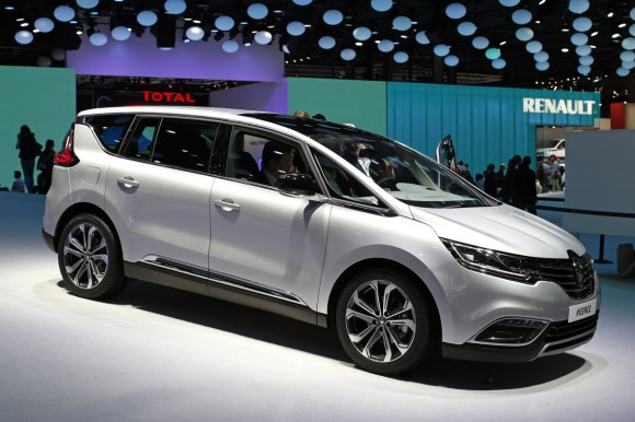 A new Renault Espace car is displayed on media day at the Paris Mondial de l'Automobile