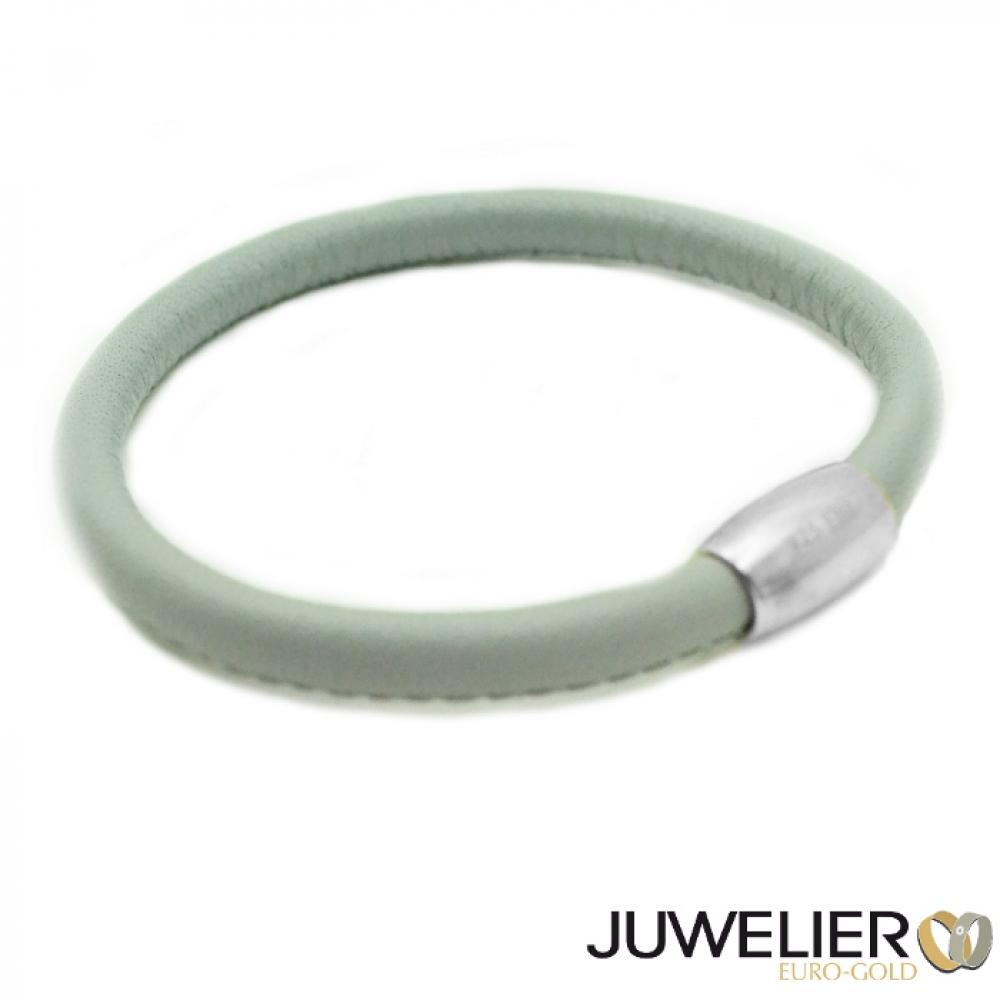 Juwelier EuroGoldBerlin  Armband aus graues Echt Leder mit Magnetverschluss aus 925 Silber