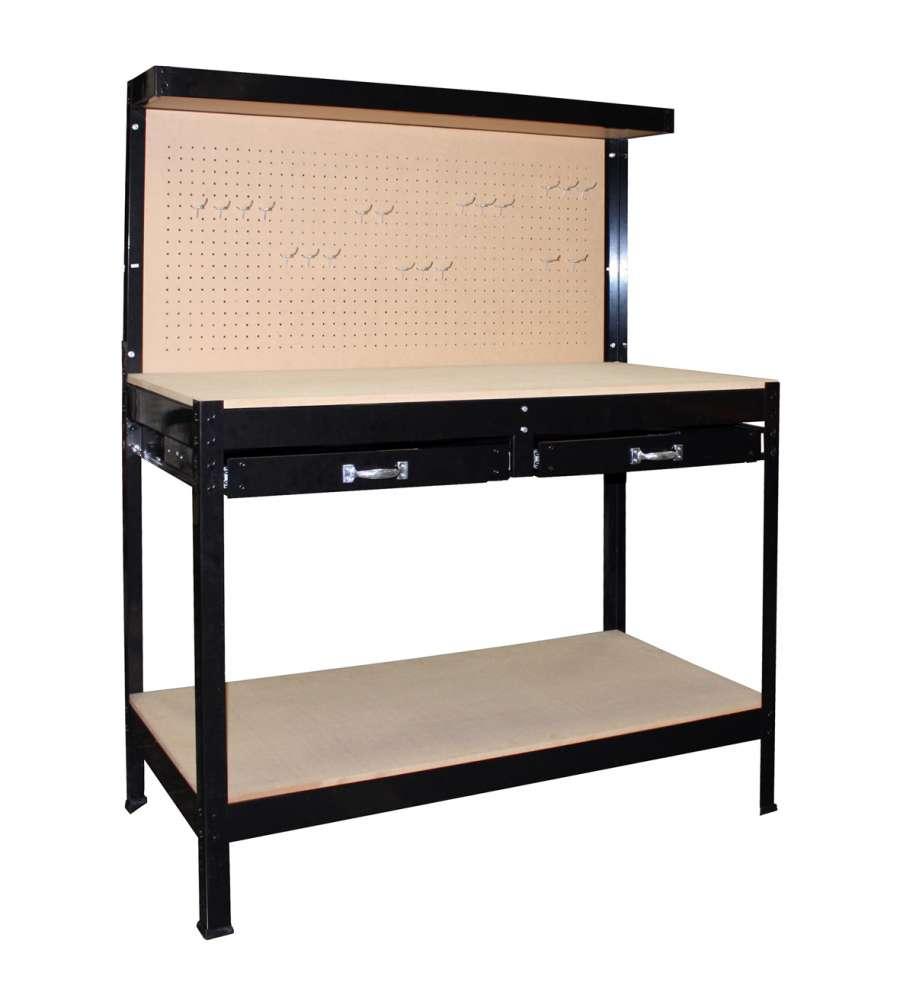 Tavolo Da Lavoro Con Pannello E 2 Cassetti  122x61x151h Cm
