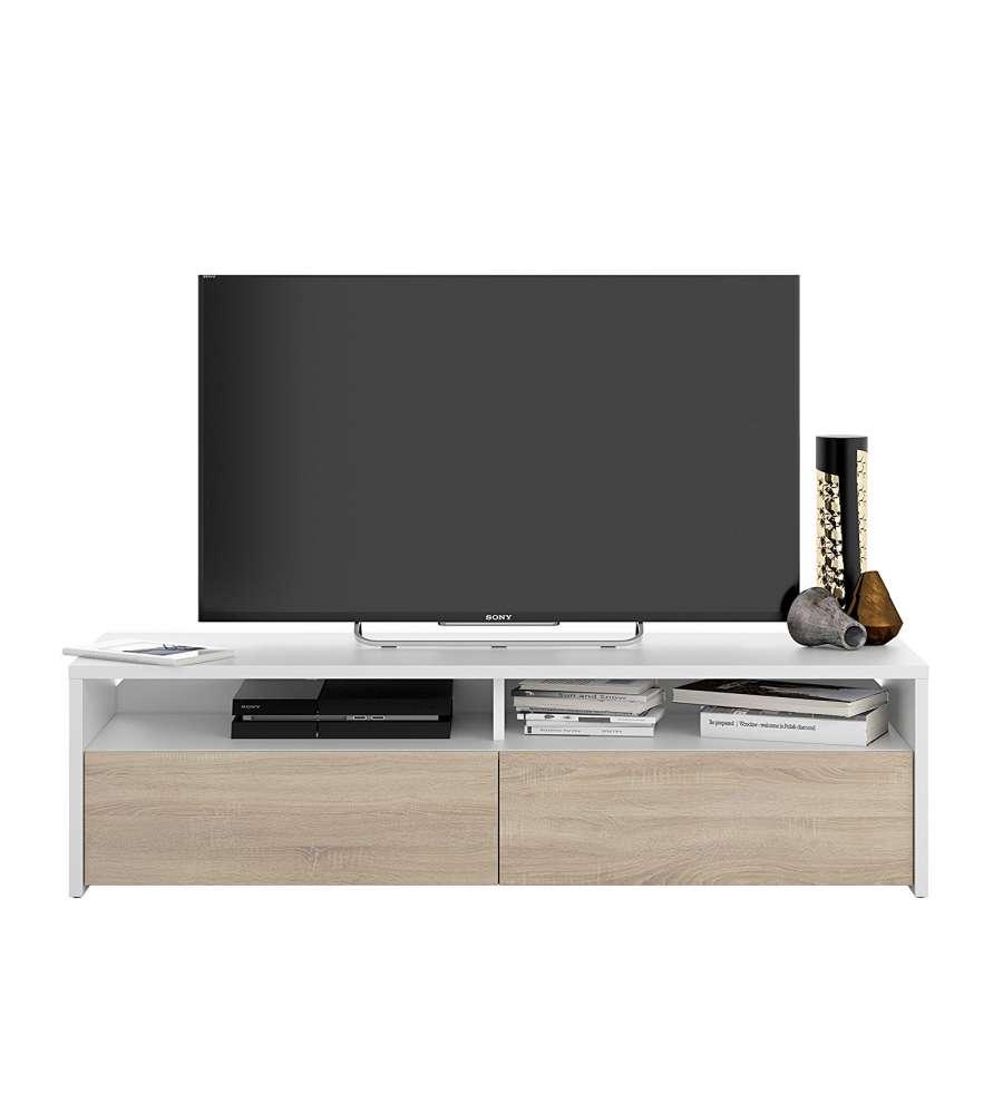 Mobile Soggiorno Porta Tv Kioto Bianco Rovere