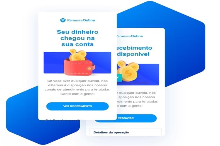 Notificação de recebimento de dinheiro via Remessa Online