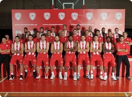 Olympiacos team poses at the Turkish Airlines Euroleague Media Day