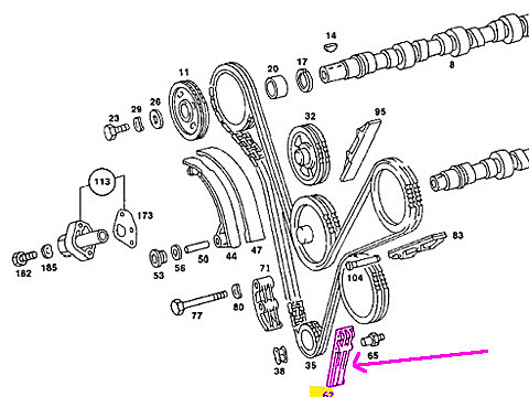 Mercedes r107 w126 Timing Chain Guide Rail LEFT Lower