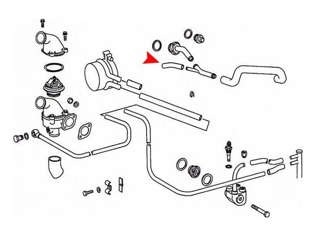 Mercedes (1967-72) Water Pump By-Pass Hose 45 deg. Angle