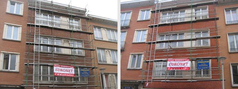 Rejointoyage de façade avec échafaudage