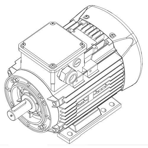 Aluminum motor IE1 71M 0,25kW 1000rpm B3B14a 230/400V50Hz
