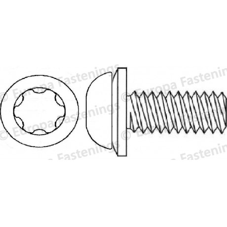 Sems Screw Button (Din 7380) 6-Lobe c/w Conical Spring