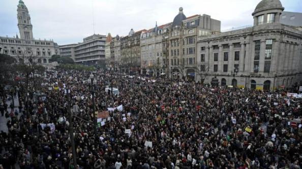 Protesta contra la usteridad en Porto el 12 de marzo