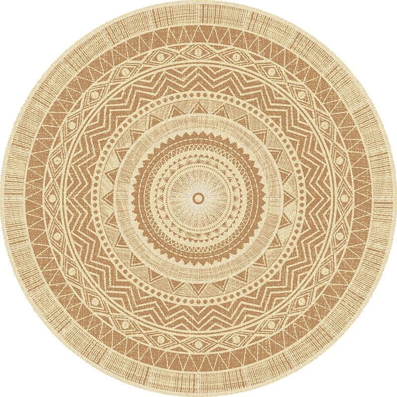 tapis vinyle rond natte ethnique hd86