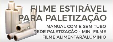 Filme estirável para paletização manual: com tubo, sem tubo, rede paletização, mini-filme, filme alimentar, filme de alumínio.