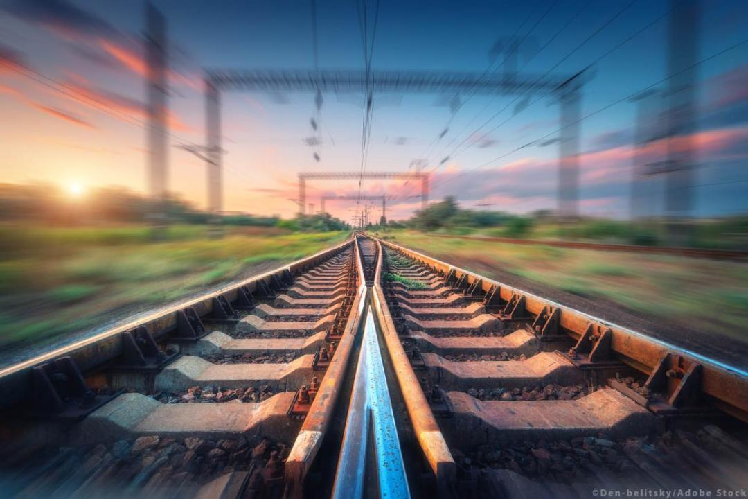 Railroad and beautiful sky at sunset. ©AdobeStock_den-belitsky