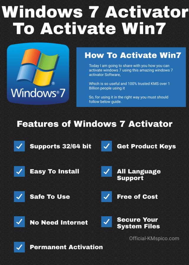 Features Of  Windows 7 Activator