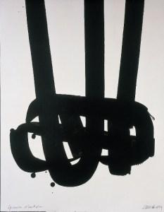Pierre Soulages,  Lithographie n°29, 1972, 3 planches, 104,5 x 70 cm - 79,5 x 82 cm Collection particulière. Photo: F. Walch © ADAGP, Paris 2009