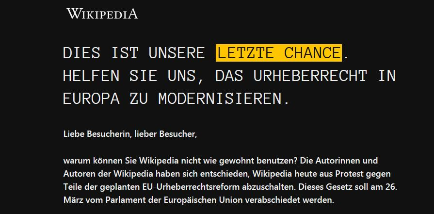 German Wikipedia Protests EU Copyright Law by Going Dark with 'Last Chance' Warning
