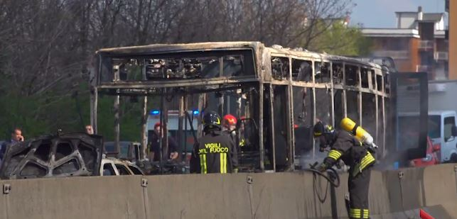 Driver Hijacks, Burns School Bus Full of Children in Italy, Terrorism Not Ruled Out