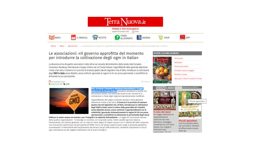 Terra Nuova diffonde il comunicato delle Associazionicontro l'introduzione di organismi geneticamente modificati nell'agricoltura italiana