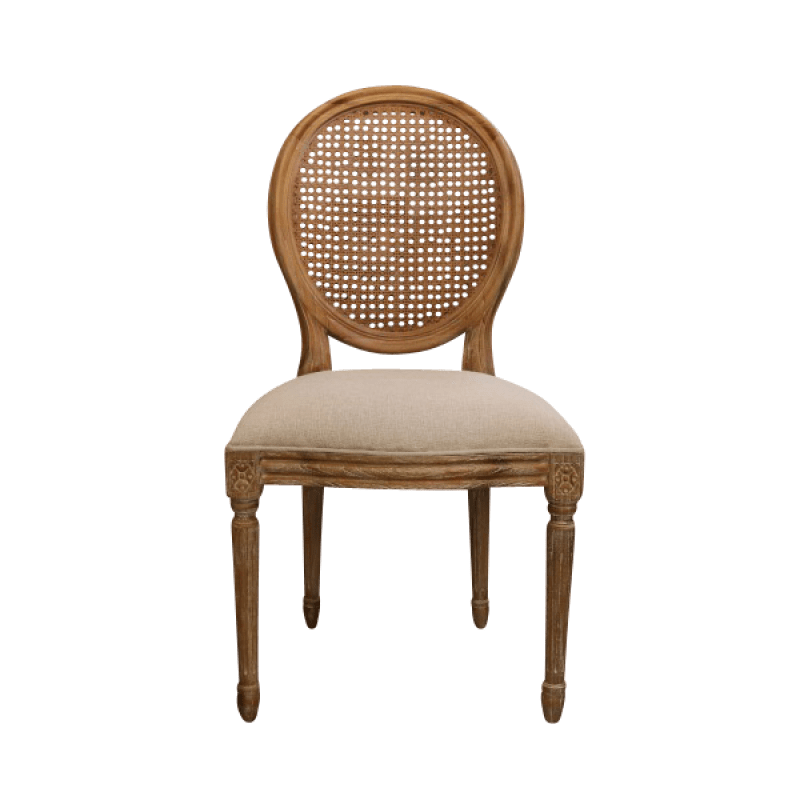 European Design French Louis Rattan Balloon Back Dining