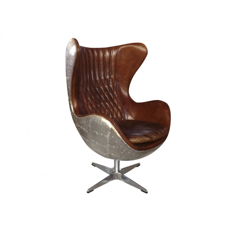 wide living room chair primitive country colors european design aviator egg in leather and panelled ...