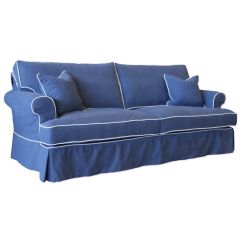 Blue Fl Sofa Pottery Barn Seabury European Design Linen Three Seat With Contrast Piping In Royal