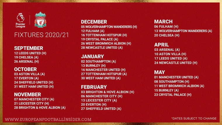 Premier Fixtures 2021
