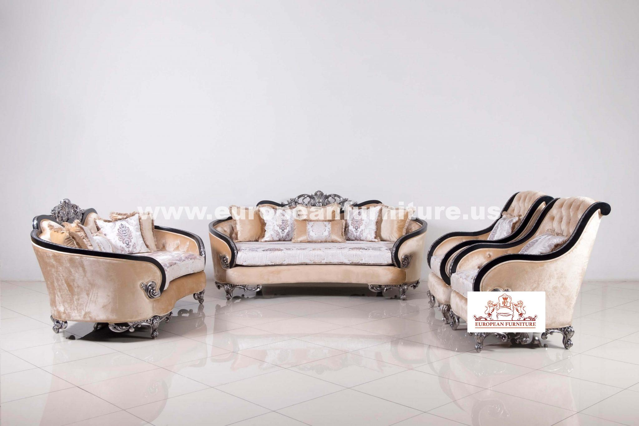 Rosabella Sofa Set Black - Silver