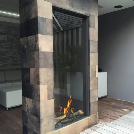 Sky Tunnel by Element4  Vertical See Through Gas Fireplace
