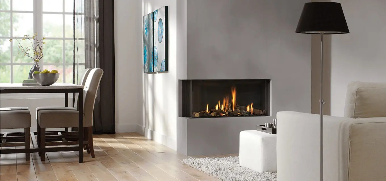 Bidore 95 by Element4  Modern Corner Fireplace  Direct Vent Gas