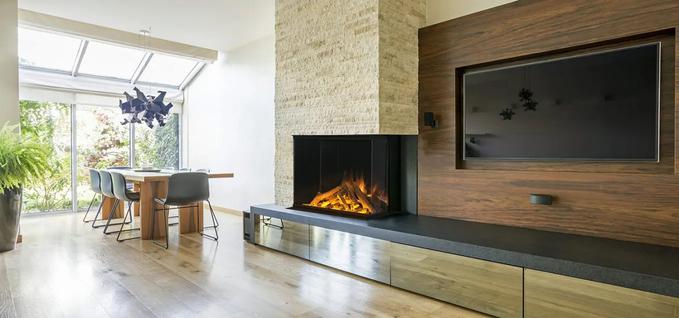 E32 H by Electric Modern  3Sided BuiltIn Electric Fireplace