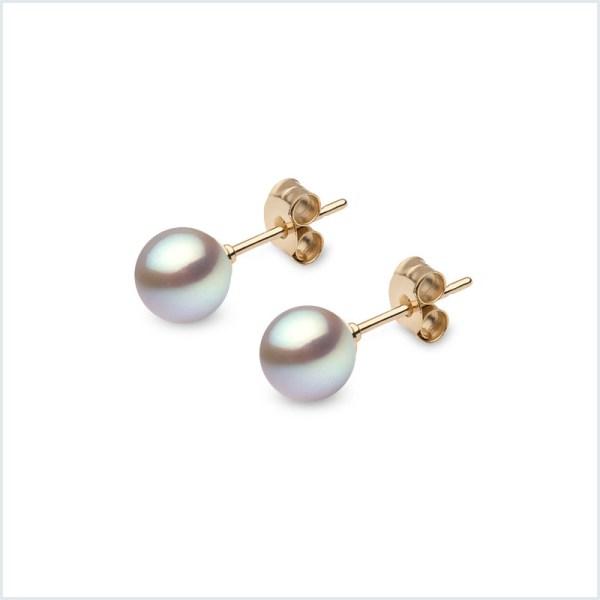 Euro Pearls Grey Freshwater Pearl Stud Earrings