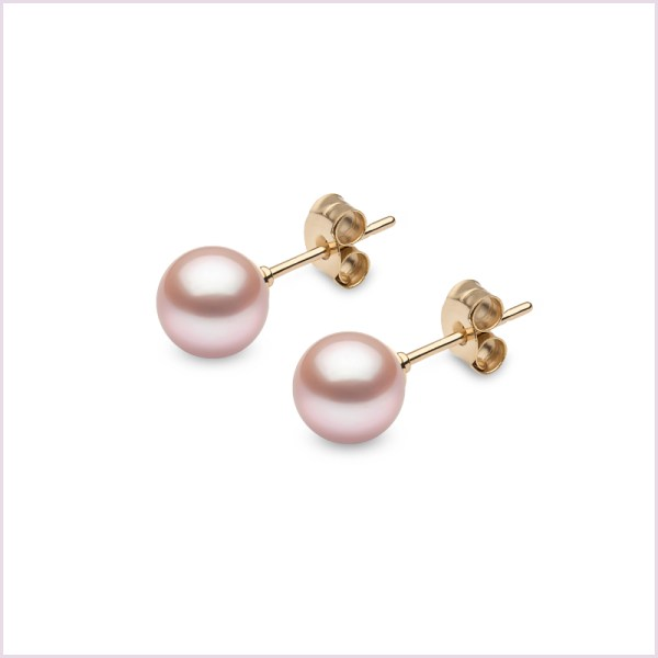 Euro Pearls Pink Freshwater Pearl Stud Earrings in 18ct Yellow Gold