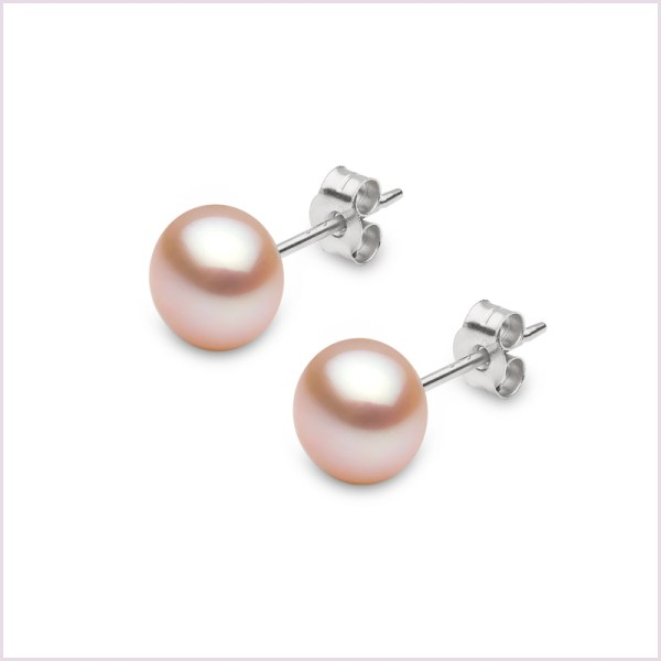 Euro Pearls Pink Button Shape Freshwater Pearl Stud Earrings