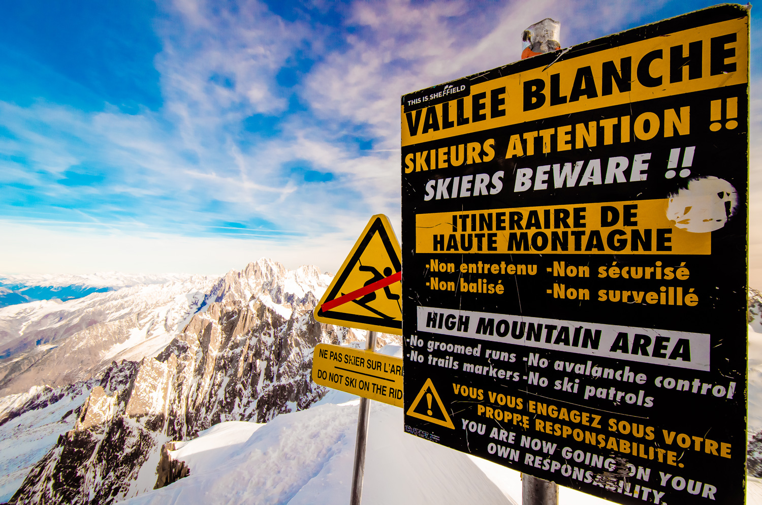 Skiers Beware - the Summit Aiguille Du Midi -