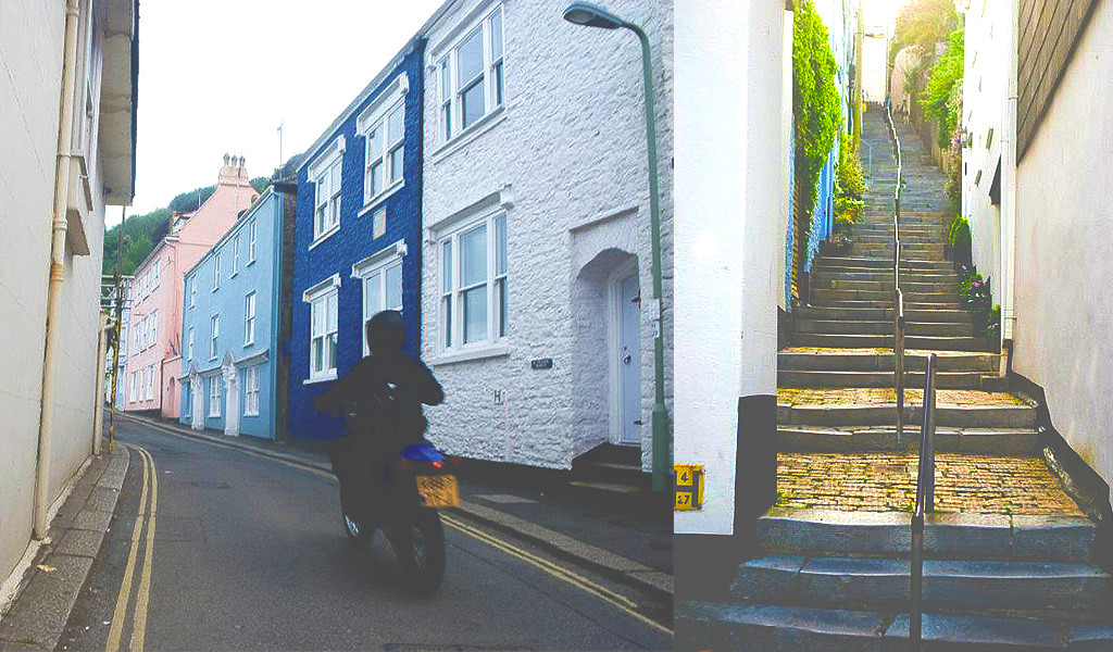 From left: Dartmouth back streets and steps in the direction pf Dartmouth castle