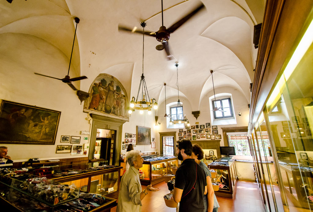 The interior of the leather shop inside the Sante Croce