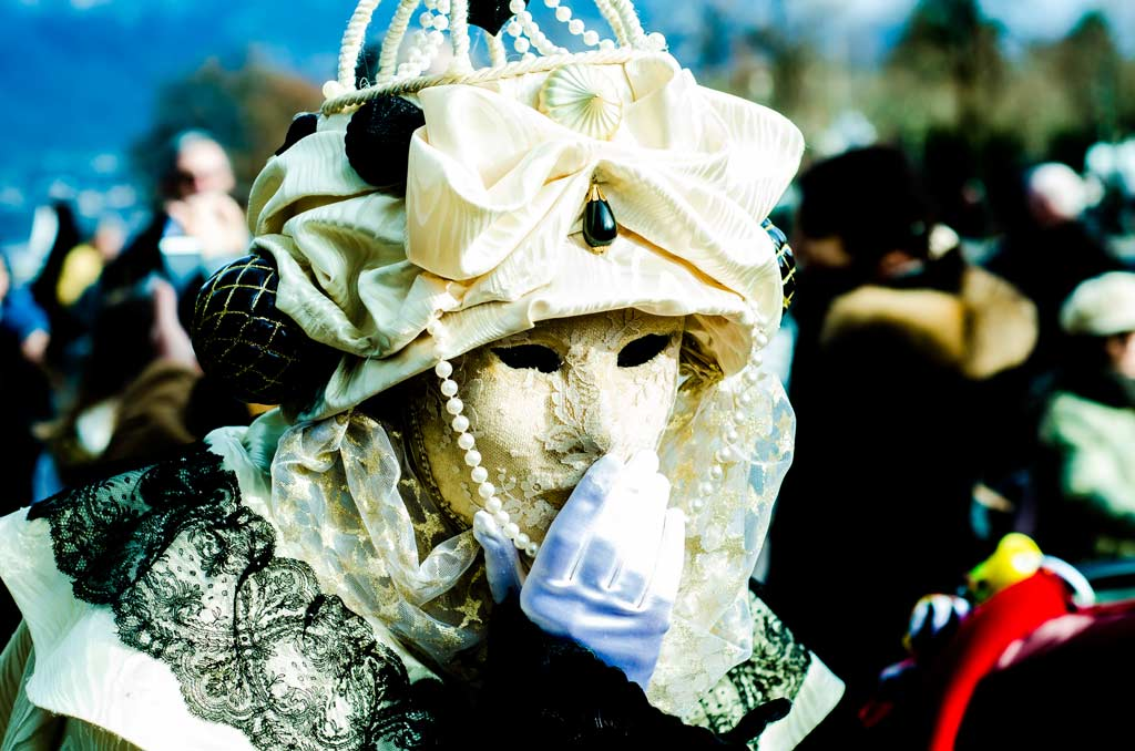 A laced mask at the Venetian Carnival in Annecy