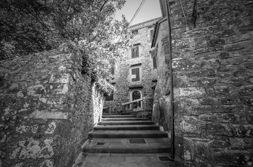 Steps leading around the village