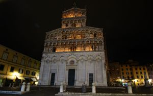 Michele in Foro Cathedral illuminated as part of the Luminara Di Santa Croce in Lucca