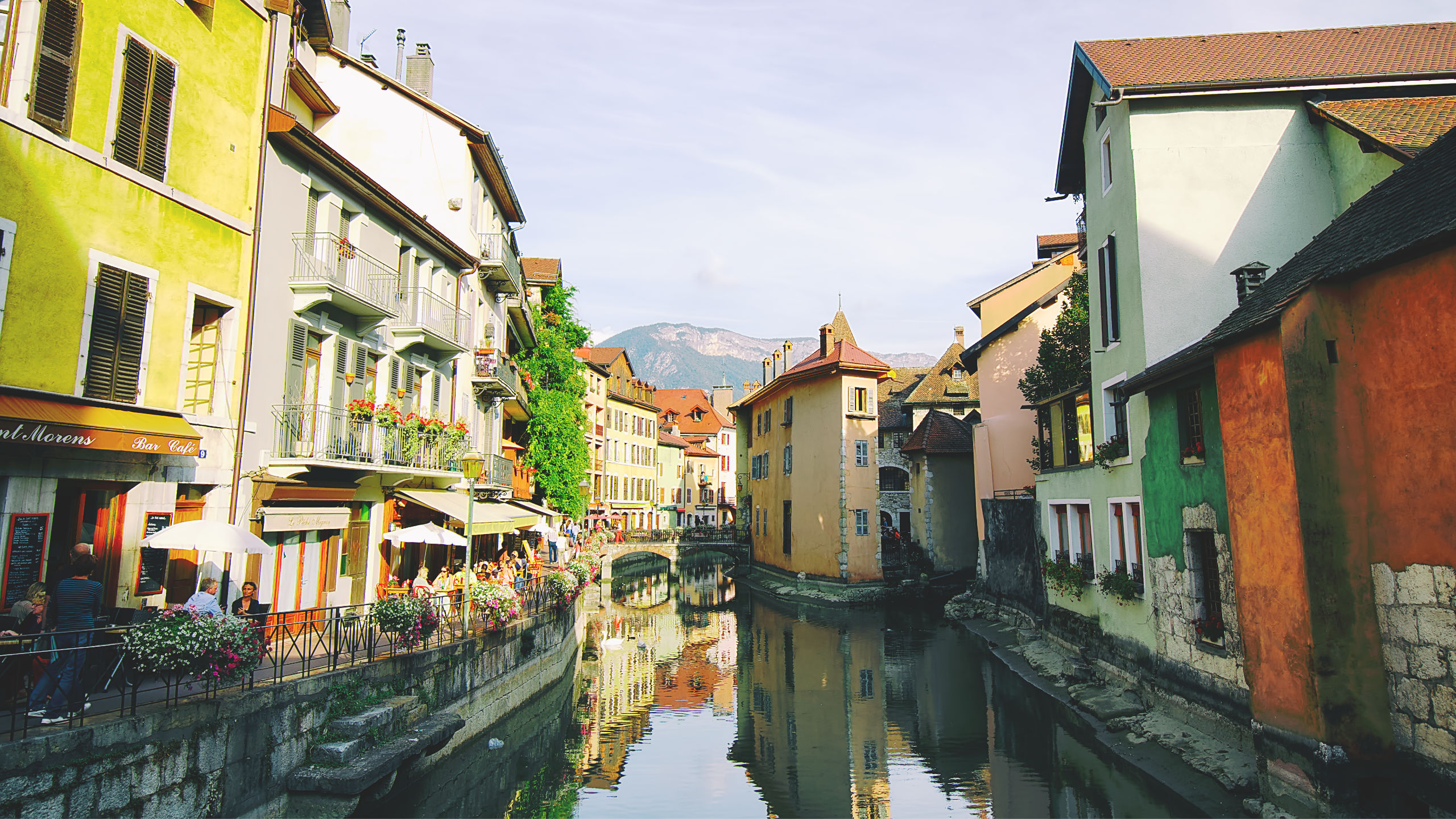 The canals in Annecy Venice of the Alps in France