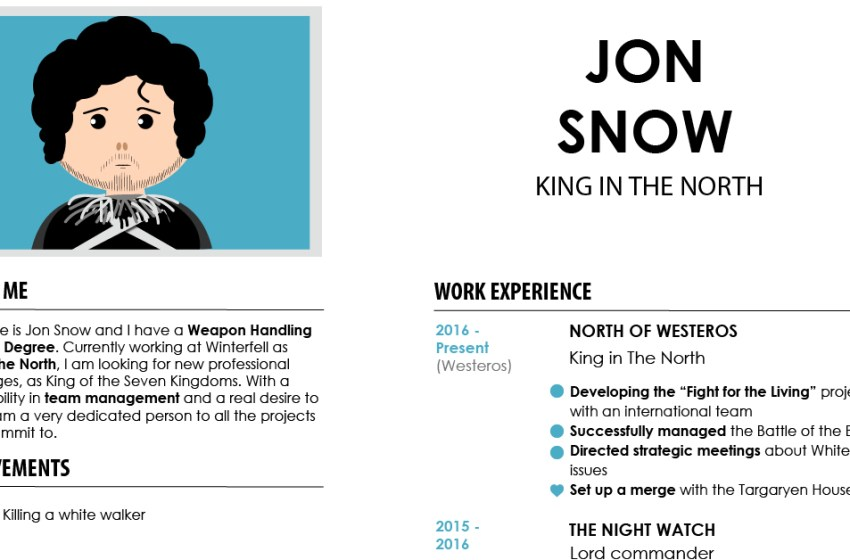 If Game of Thrones characters had CVs – Download the templates for free