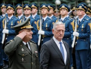 U.S. Secretary of Defense James Mattis and Ukraine's Defence Minister Stepan Poltorak walk past honour guards during a welcoming ceremony in Kiev, Ukraine August 24, 2017. REUTERS/Gleb Garanich