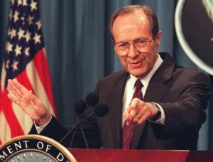 US Defense Secretary William Perry points to a rep