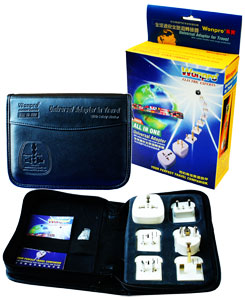 AST-Dvs_white, All-In-One Adapter Kit in Large Leather Case