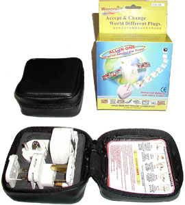 AST-SDvs_white, All-In-One Adapter Kit in Small Leather Case