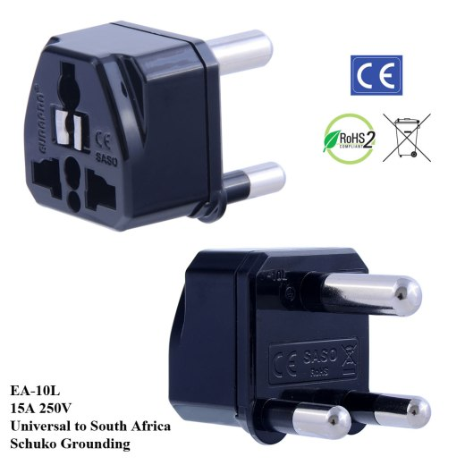 EA-10L_Black, South Africa Plug Adapter with Schuko Ground