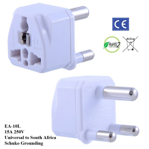 EA-10L_White, South Africa Plug Adapter with Schuko Ground