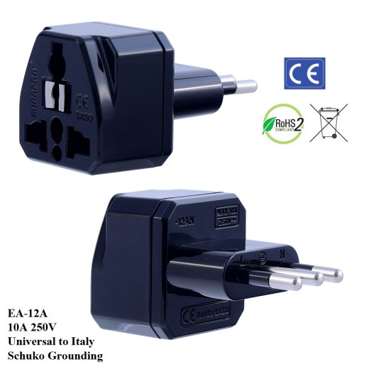 EA-12A_Black, Italy Plug Adapter with Schuko Ground