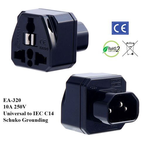 EA-320_Black, IEC C14 Plug Adapter with Schuko Ground