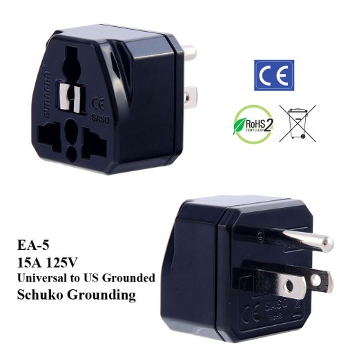 EA-5_Black, US Plug Adapter with Schuko Ground
