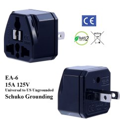 ea 6 black ungrounded us plug adapter [ 1000 x 1000 Pixel ]